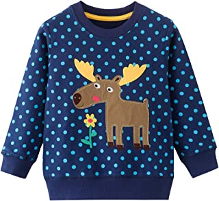 HUAER& Baby Girl Cotton Long Sleeved Pullover Sweatshirt