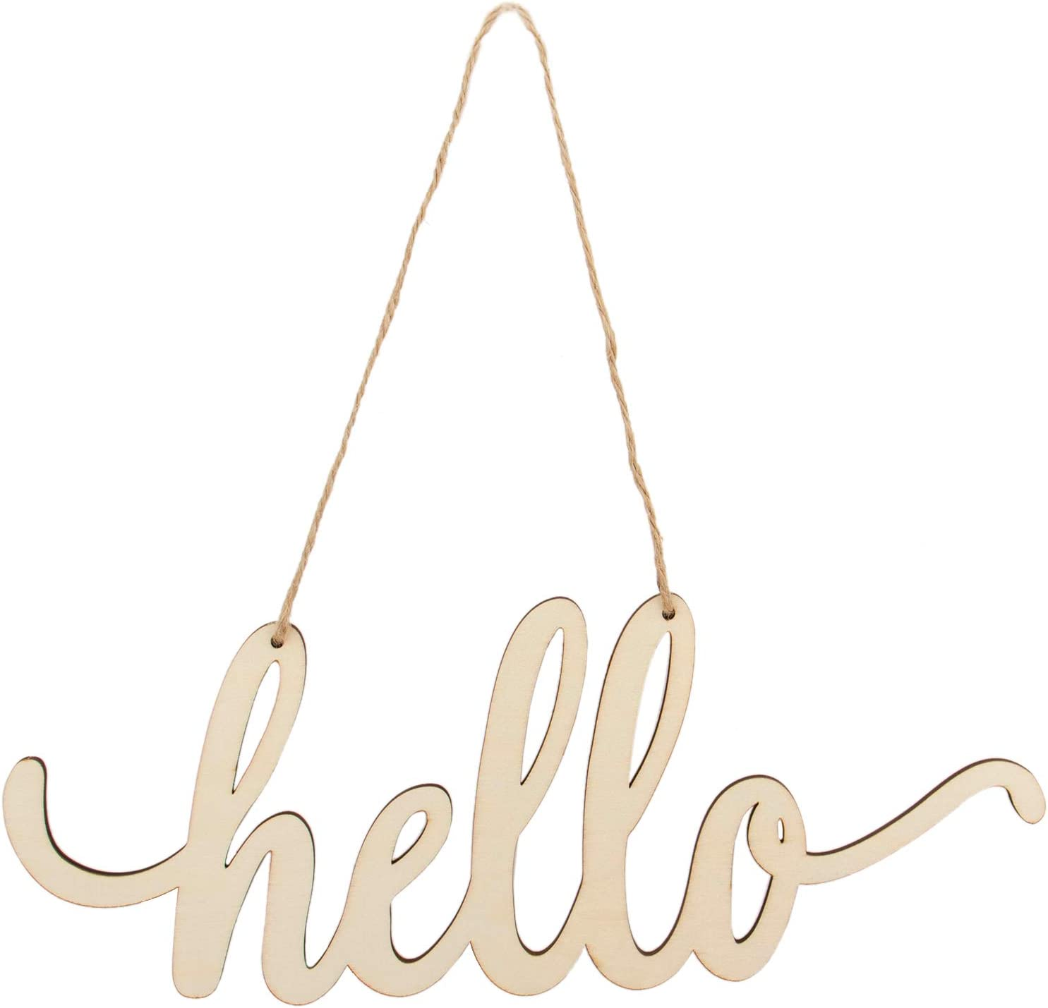 Framendino, Hello Wood Sign Cutout Home Wall Decor Unfinished Wooden Letters with Rope DIY Block Words Sign Art Decoration