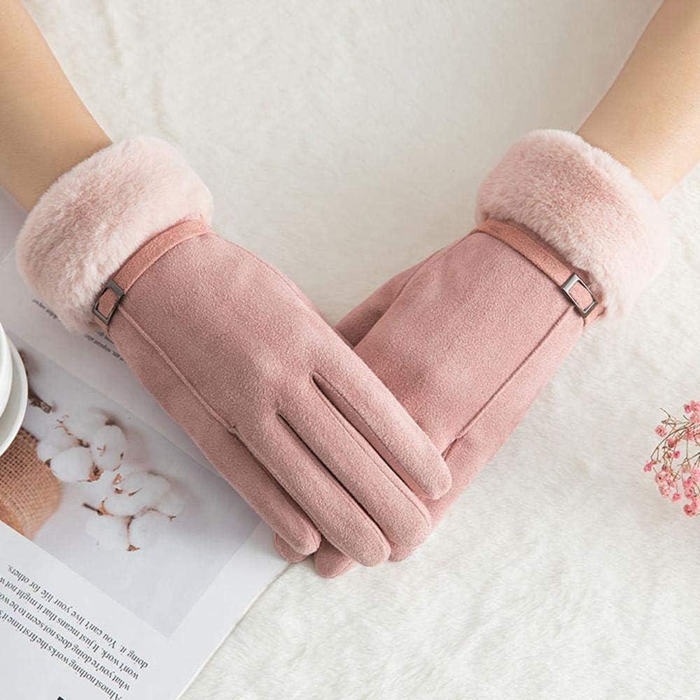 WuyueSun Women Gloves Winter Touch Screen Female Suede Furry Warm Full Finger Gloves Lady Winter Outdoor Sport Driving Women Gloves