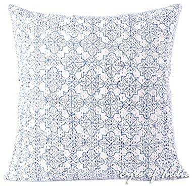 Eyes of India 24  Blue Printed Kantha Throw Couch Sofa Pillow Cushion Cover Boho Indian Bohemian