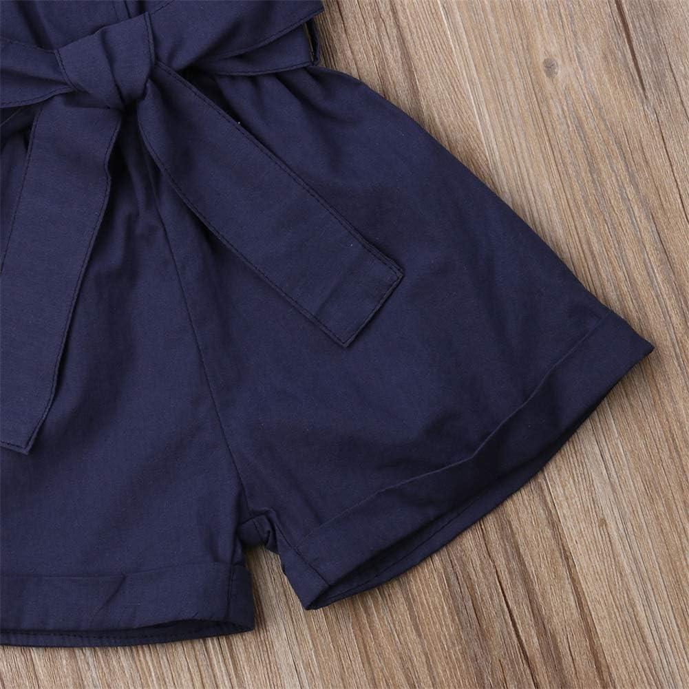 Kids Little Girls Turn Down Collar Short Jumpsuit One Piece Sleeveless Romper with Belt