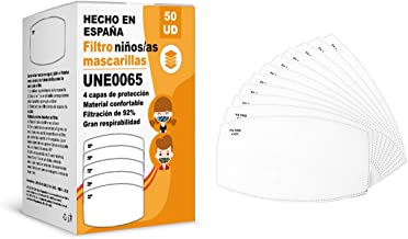 KALLPA® 50 stuks UNE0065 filters voor kinderen, herbruikbaar, geproduceerd in Spanje, waterafstotend, antistatisch en anti...