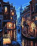 Komking Pintura por números para adultos, kit de pintura por números en lienzo sin marco, romántica noche de Venecia 40,6 x 50,8 cm