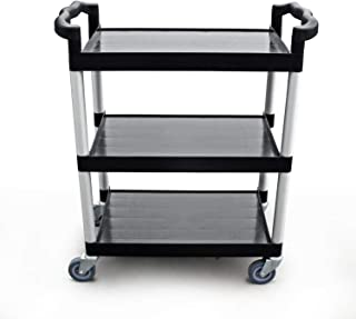New Star Foodservice 54552 350-Pound Plastic 3-Tier Utility Bus Cart with Locking Casters, 42-1/2x19-1/2x38-1/2, Black