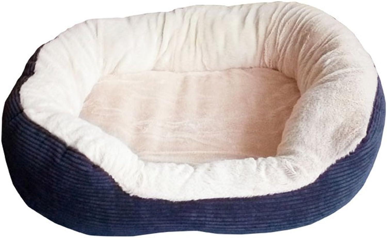 Dfghbn Warm pet nest Pet Nest Soft And Warm Rectangular Kennel PP Cotton Autumn And Winter Pet Cotton Nest soft (color   Navy bluee)