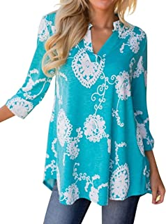 WLLW Women's Bohemian 3/4 Sleeve V Neck Floral Print Shirt Blouse Tops Tee Tunic