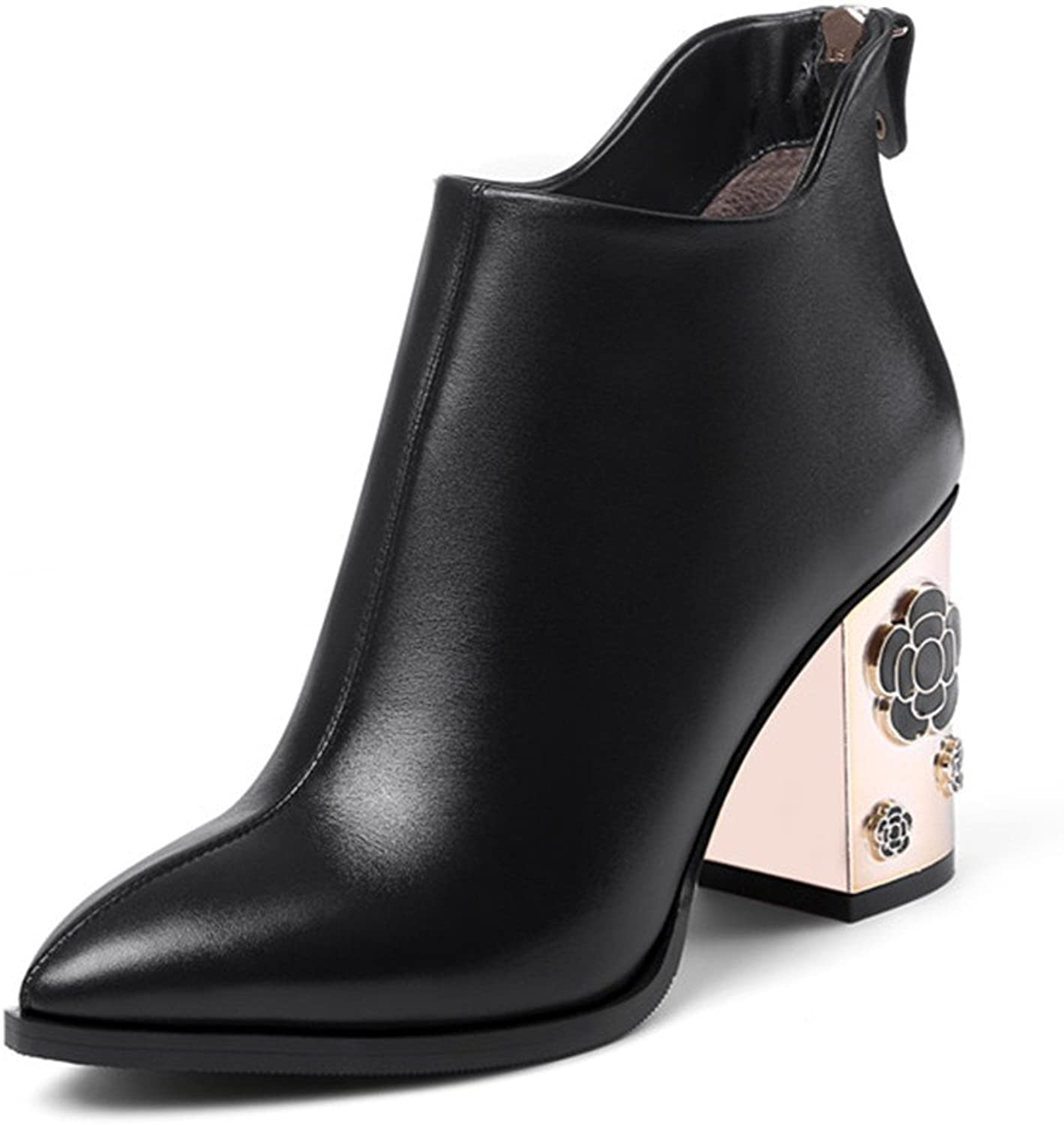 Nine Seven Genuine Leather Women's Pointed Toe-Flowers Chunky Heel-Handmade Back Zip Cute Retro Charming Ankle Boots New