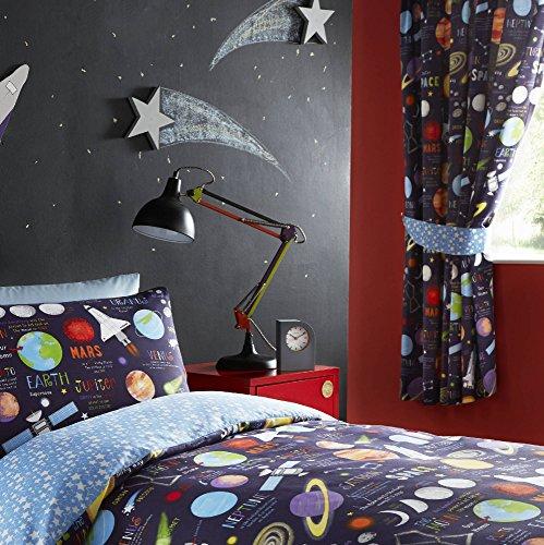 Kidz Club - Cortinas Plisadas Totalmente Forradas, 168 x 183 cm, diseño de Planetas, Listas para Colgar, un par, Color Negro
