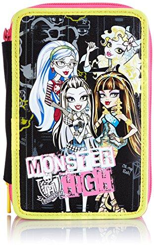 Monster High - Astuccio Scuola 3 Scomparti, Nero/Giallo