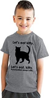 Crazy Dog T-Shirts Kids' Let's Eat Kitty T Shirt Funny Youth Punctuation Shirt Cat Tee