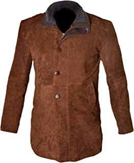MSHC Men's Sheriff Walt Longmire Robert Taylor Genuine Leather Trench Coat XXS-5XL Brown & Black