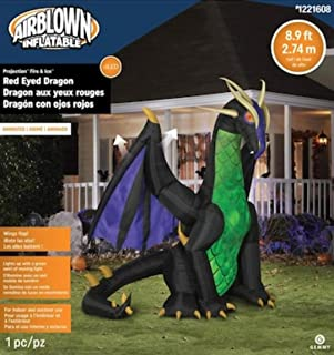 Gemmy 9' Animated Airblown Inflatable Fire & Ice Black & Green Dragon w/Red Eyes Yard Decoration 222276