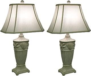 2 Piece Off-White Ribbed Coastal Seashell Table Lamp Set w/Fabric Shade