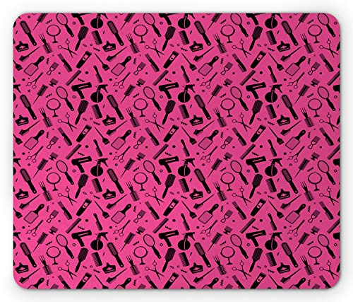 Ambesonne Hair Salon Mouse Pad, Beauty Salon Concept Hairdo Vented Brush Combs Mirrors Scissors, Rectangle Non-Slip Rubber Mousepad, Standard Size, Hot Pink and Black