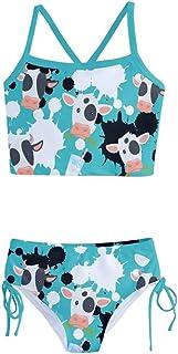 PattyCandy Little Girls Bathing Suit Milk & Cow Prints Tankini Swimsuit - 10 Light Teal