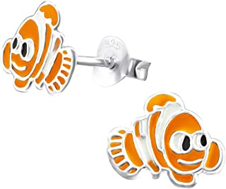 Laimons Kids Orecchini a pressione per bambini gioielli per bambini Pesce Arancione Argento Sterling 925