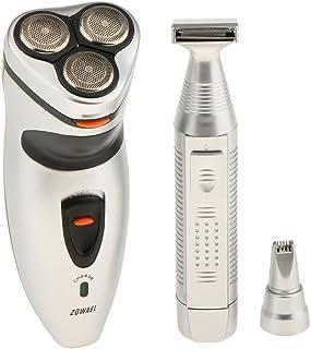 perfk Máquina de Afeitar Eléctrica Rotativa para Hombre Barba Trimmer Resistente al Agua para Corte de Barba Depiladora Nariz Cabello con Cleaning Brush