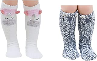 2-5 Pair Fuzzy Christmas Socks Unisex Boys Girls Knee High Stockings Leg Warmmer