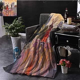 SSKJTC European Grey Throw Blanket Moulin Rouge in Paris City Bedroom Dorm Sofa Baby Cot Beach W60 xL80