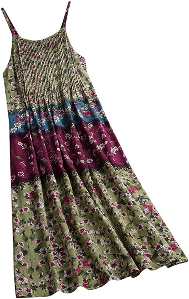 USStore Women Sling Dress Vintage Boho Colorblock Floral Print Sleeveless Pleated Swing Baggy Beach Holiday Maxi Dres