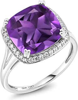 10K White Gold Purple Amethyst and White Diamond Women's Ring 6.74 Ct Cushion Cut (Available 5,6,7,8,9)