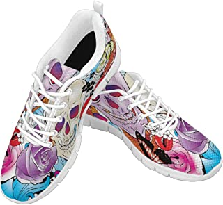 Zenzzle Women's Casual Lightweight Breathable Athletic Walking Sneakers Colorful Skulls and Flowers Pattern Size US6-12