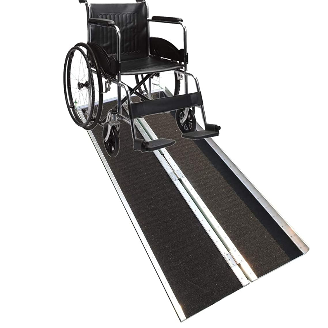 HOBBYN Folding Ramp, 6 Ft Aluminum Wheelchair Loading Traction Ramp, Lightweight Folding Portable, Single Fold Wheelchair Scooter Ramp
