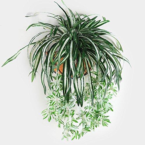 Epaynetwork EPNT 1 Pieza de 5 Ramas de Flores Artificiales Verdes para Colgar en la Pared de clorofitos, imitaciones Falsas de Hojas, decoración para el hogar y el jardín