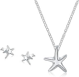 Majesto 925 Sterling Silver Star Fish Beach Pendant Necklace Stud Earrings Set for Women Teen Girls Prime Gift