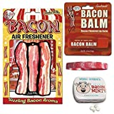 Bacon Addicts Triple Sampler Gift Pack (3pc Set + Wristband) - Bacon Air Freshener, Breath Mints & Lip Balm + Bacon Addict Silicone Wristband