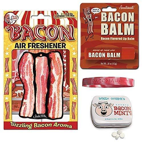 Bacon Addicts Triple Sampler Gift Pack (3pc Set + Wristband) - Bacon Air Freshener, Breath Mints & Lip Balm + Bacon Addict Silicone Wristband