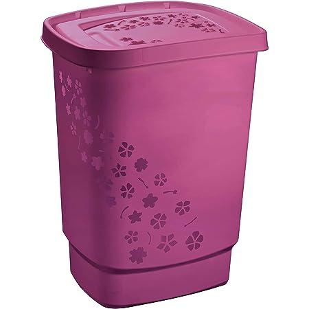 Rotho Flowers Collecteur de Linge 55L avec Couvercle, Plastique (PP) sans BPA, Rose, 55L (44,7 X 34,7 X 60,5 cm)