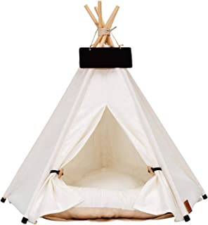 didatecar Tipi-tält för husdjur, husdjurstält för hundar, valpar, katter, med tjock matta, hundbädd, kattsäng, med kudde, ...