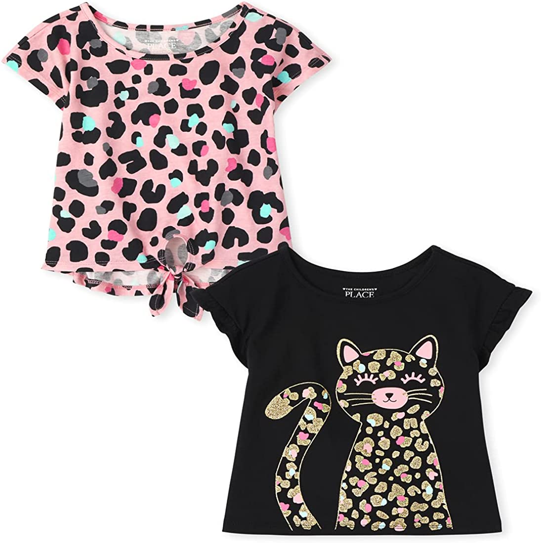 The Children's Place Baby Toddler Girl Short Sleeve Leopard Top 2-Pack