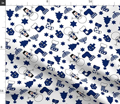 Spoonflower Fabric - Hanukkah Tree Snowman Modern Holiday Winter Cloth Printed on Petal Signature Cotton Fabric by The Yard - Sewing Quilting Apparel Crafts Decor