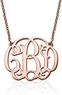 18k Yellow or Rose Gold Plated Silver Fancy Monogram Necklace - Custom Made Pendant with Any Initials