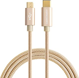 Type USB C to Micro USB, CableCreation USB 2.0 Type C to Micro USB Charging & Data Cable, Type C Devices to Android Devices, 1.2m/4 feet, Gold Braided with Aluminum