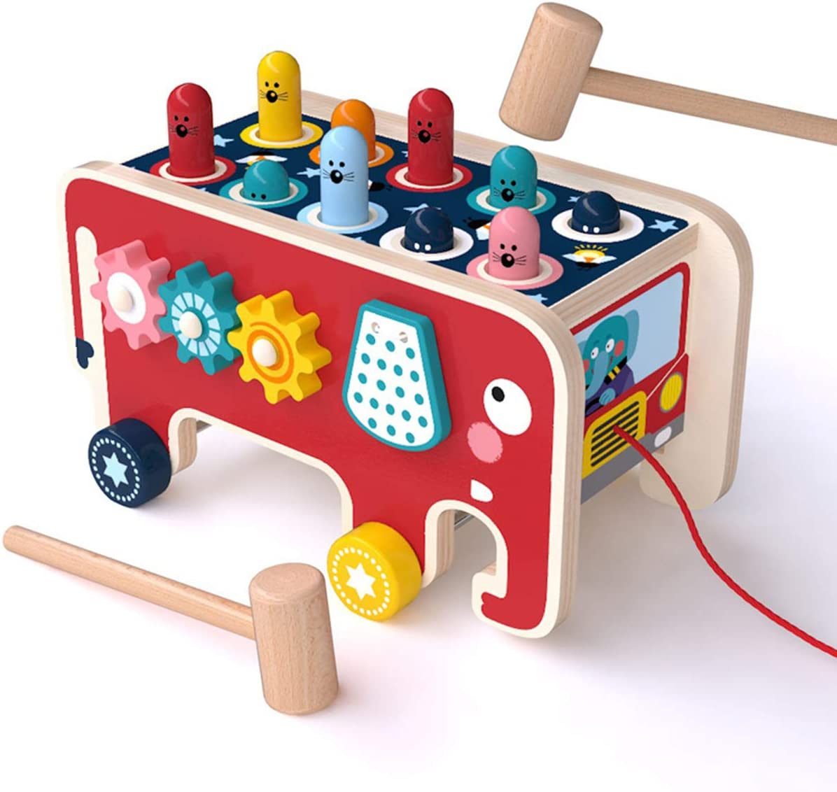 KAILUN Wooden Hammer Toys for 1 2 Trust Pull Along Super intense SALE in Year A Old 3