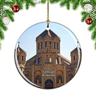 Weekino Yerevan Armenia Christmas Xmas Tree Ornament Decoration Hanging Pendant Decor City Travel Souvenir Collection Double Sided Porcelain 2.85 Inch