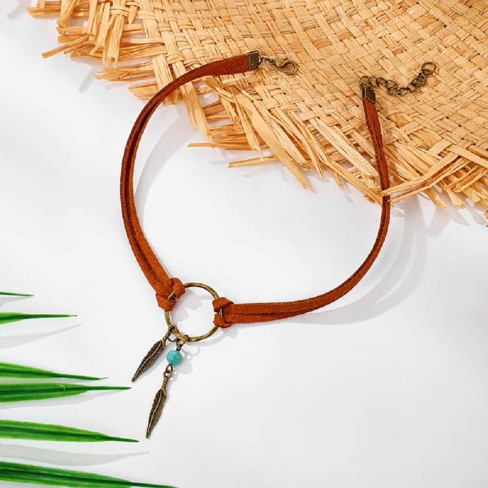 Wcysin Women Girls Leaf Pendant Necklace Fashion Choker Necklace (Gold)