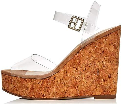 LYWLJG Sandales compensées à la Mode Mode Mode pour Femmes, Chaussures de Ville en PVC b5c
