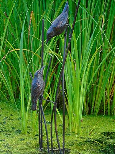 Pájaros en cañas jardín Estatua. Fundido en hierro con un acabado en...