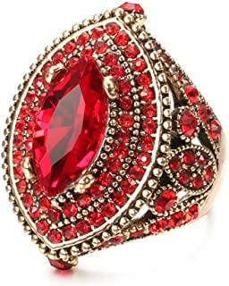 CKHAO Women Ring - Big Size Antique Gold Plated Turkish Style Red Gemstone Vintage Ring Women Jewelry J0769RED