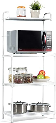 """lowest Giantex 4-Tier Kitchen Microwave Storage Rack Oven discount Stand Strong Mesh Wire Metal Shelves Free Standing Baker's Rack Shelving Utility Unit, 23.5"""" Lx13.5 new arrival Wx53.5 H (White) outlet sale"""