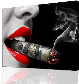 Beast Mode Woman Wall Art - Business Wall Art - Modern Wall Art Pop-Art - Money Sexy Red Lips Wal Art - Erotic Sexy Canvas Wall Decor with Cigarette and Money - Boss Lady