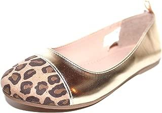 GAP Kids Girl's Metallic Gold Ballet Flats w/Faux Suede Leopard Toe Cap