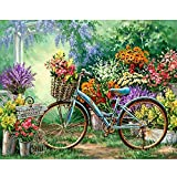 LZMAXY 5D DIY Diamond Embroidery Scenery Full Round Diamond Painting Cross Stitch Kits Bicycle Flowers Diamond Mosaic Home Decor 30X40CM