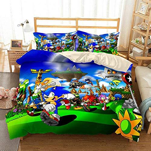 Juego de cama Sonic 3D Sonic para niños (incluye funda de almohada), microfibra ultraligera, suave y cómoda, apto para cama de anime para niños y niñas (Snk1, individual 135 x 200 cm)