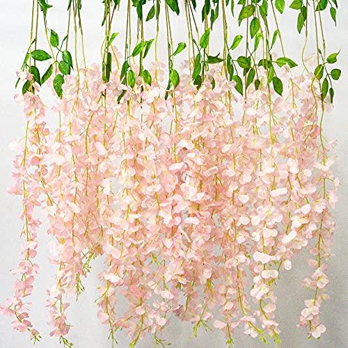 12 Pcs Flores Artificiales, Falsa Vine Flor de Seda Garland para Home...