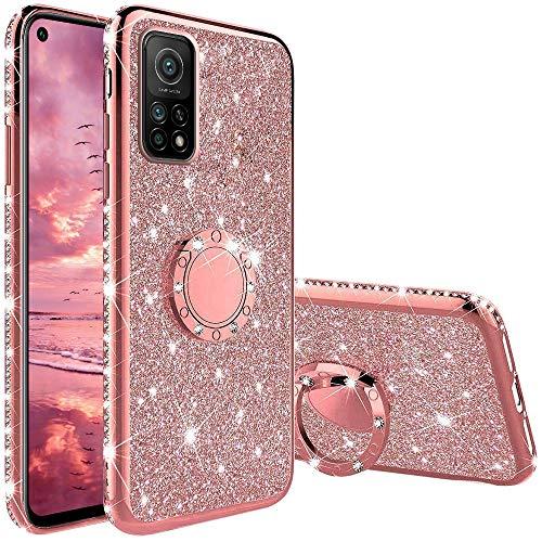 Funda para Xiaomi Mi 10T Pro 5G, Glitter Brillante Diamante con 360 Grado Anillo Kickstand Ultra Delgada Premium Fina Resistente Silicona TPU Doble Capa Anti Choques Protectora Carcasa - Rosa